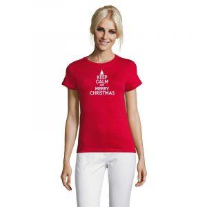 Keep Calm And Merry Christmas Damen T-Shirt
