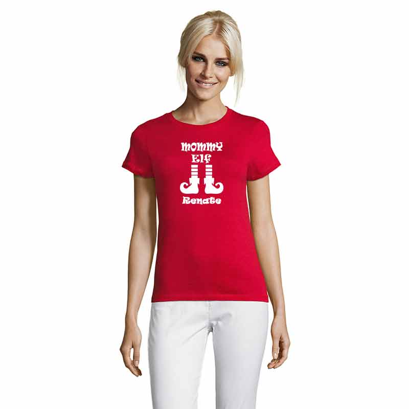 Mommy Elf mit Name T-Shirt