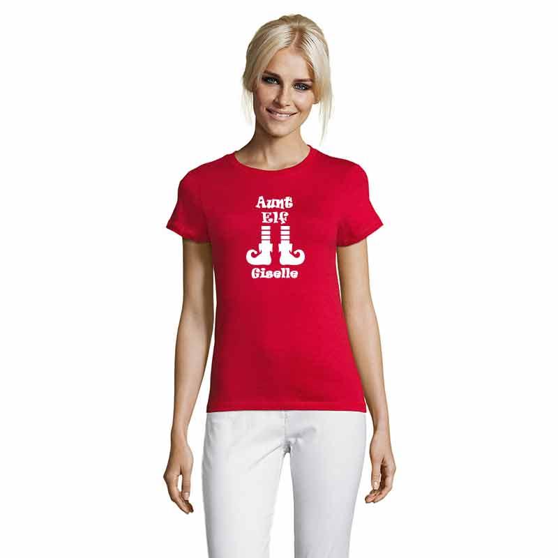 Aunt Elf mit Name T-Shirt