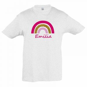 Regenbogen mit Name Kinder T-Shirt