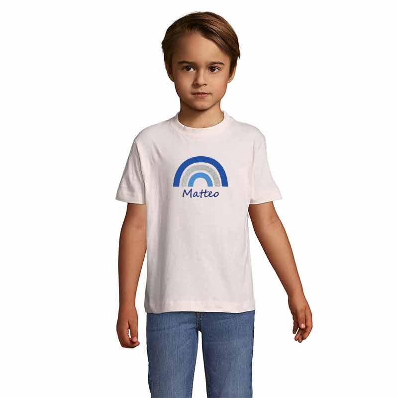 Regenbogen mit Name Kinder T-Shirt