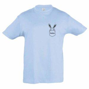 Häschen in Brusttasche mit Name Kinder T-Shirt
