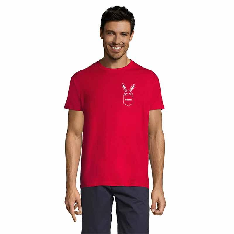 Häschen in Brusttasche mit Name Herren T-Shirt