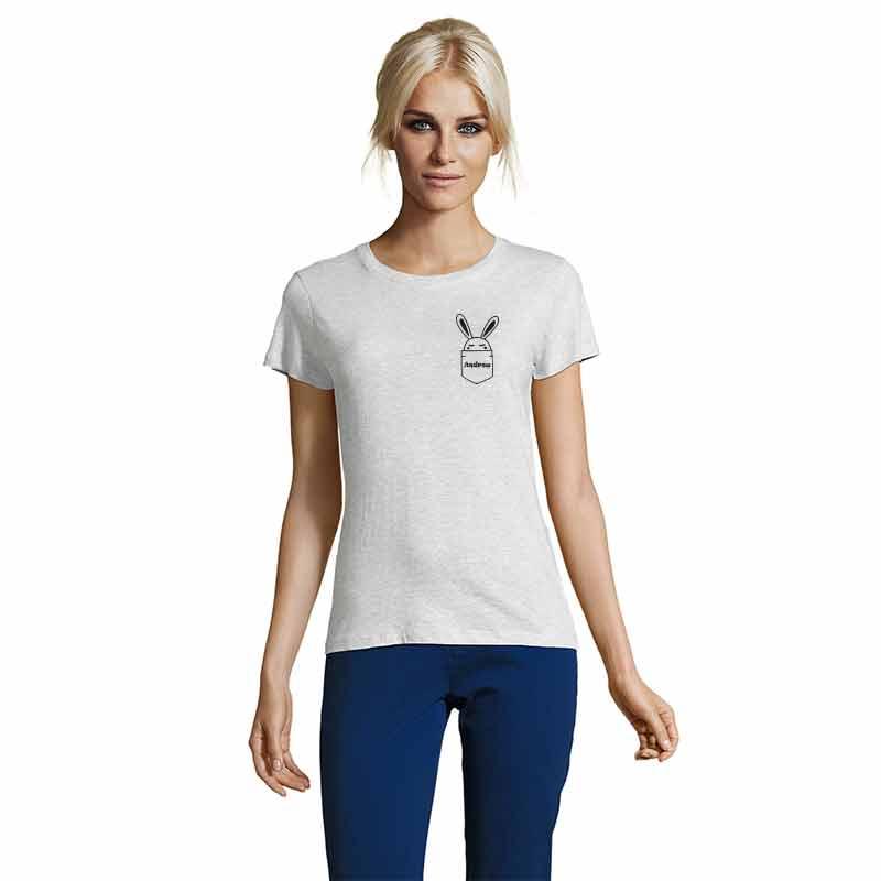 Häschen in Brusttasche mit Name Damen T-Shirt