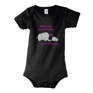 Muttertag mit Elefanten Kurzarm-Body